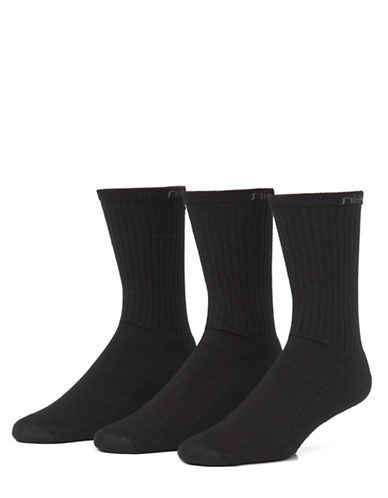 Calvin Klein 3-Pack Athletic Crew Socks-BLACK-7-12