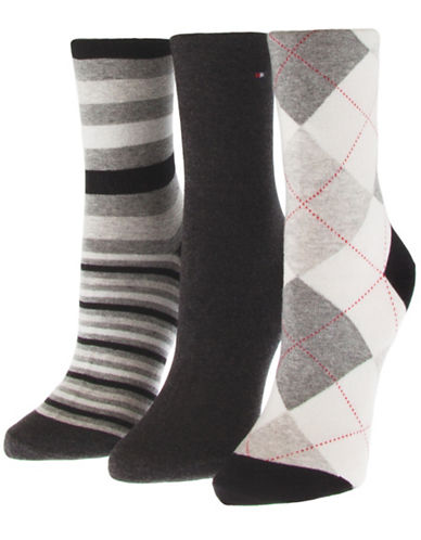Tommy Hilfiger Three-Pack Assorted Crew Socks-BLACK-One Size