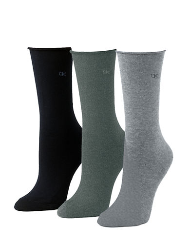 Calvin Klein Three-Pack Roll Top Socks-BLACK/GREY-One Size