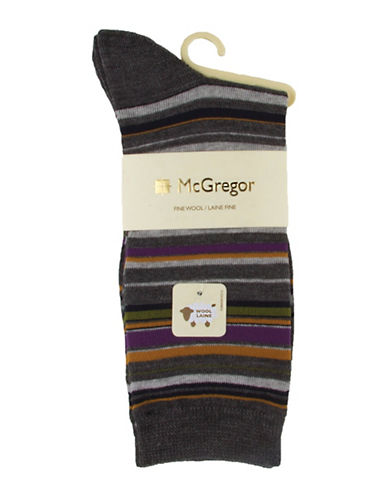 Mcgregor Wool-Blend Stripe Crew Socks-CHARCOAL-One Size