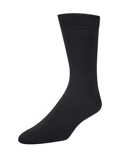 Mcgregor Wool-Blend Flat-Knit Crew Socks-BLACK-7-12