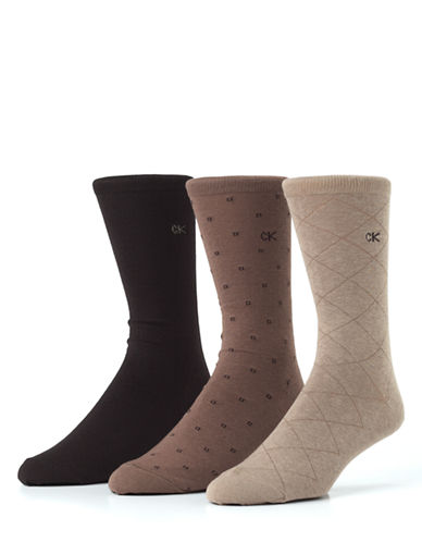Calvin Klein Mens Three-Pair Assorted Dress Socks-TAUPE/MUSHROOM/CHOCOLATE-7-12