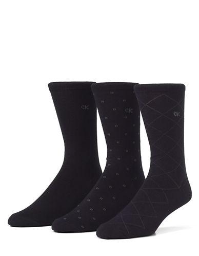 Calvin Klein Mens Three-Pair Assorted Dress Socks-NAVY-7-12