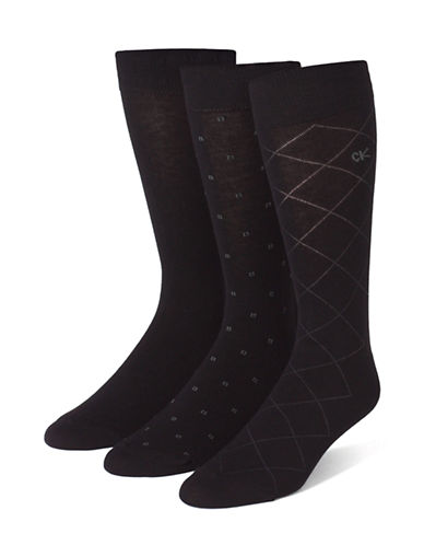 Calvin Klein Mens Three-Pair Assorted Dress Socks-OXFORD-7-12