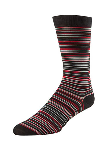 Cole Haan Multi-Stripe Crew Socks-BLACK-7-12