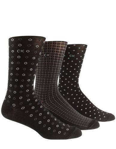 Calvin Klein Three-Pack Mercerized Cotton Socks-BLACK-7-12