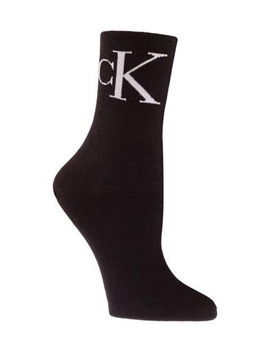 Calvin Klein Two-Pair Iconic Vintage Logo Crew Socks-BLACK-One Size