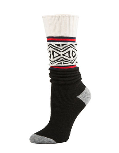 Tommy Hilfiger Fairisle Work Slouch Crew Socks-BLACK-One Size