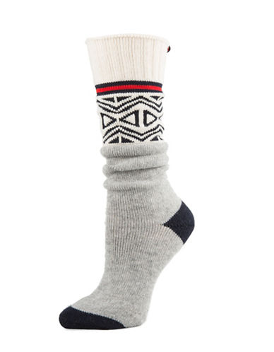 Tommy Hilfiger Fairisle Work Slouch Crew Socks-GREY-One Size