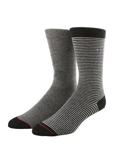 Tommy Hilfiger Two-Pack Colour Stripe Crew Socks-CHARCOAL-7-12