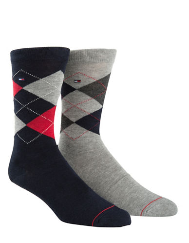 Tommy Hilfiger Mens Two-Pair Argyle Crew Socks-NAVY/GREY-7-12