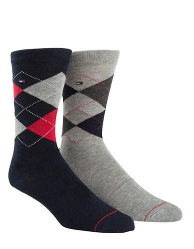 Tommy Hilfiger Mens Two-Pair Argyle Crew Socks-NAVY/GREY-7-12