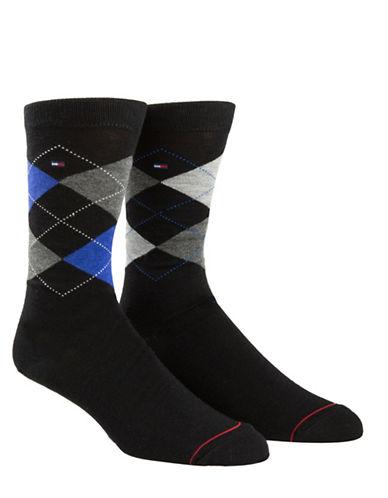 Tommy Hilfiger Mens Two-Pair Argyle Crew Socks-BLACK-7-12