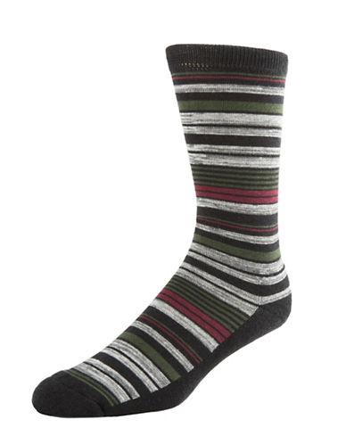 Mcgregor Mens Cushion Sole Striped Crew Socks-BLACK-7-12