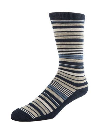 Mcgregor Mens Cushion Sole Striped Crew Socks-NAVY-7-12