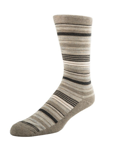 Mcgregor Mens Cushion Sole Striped Crew Socks-TAUPE-7-12