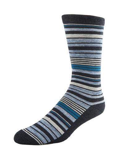 Mcgregor Mens Cushion Sole Striped Crew Socks-DENIM-7-12