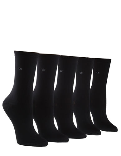 Calvin Klein 5-pack Essentials Crew Socks-BLACK-One Size