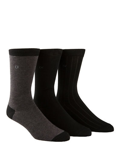 Calvin Klein Three Pack Birdseye Crew Socks-BLACK-7-12