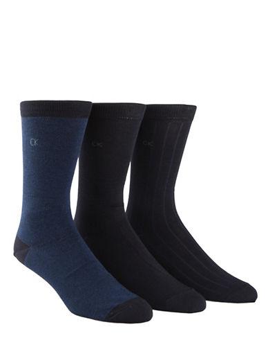 Calvin Klein Three Pack Birdseye Crew Socks-NAVY-7-12