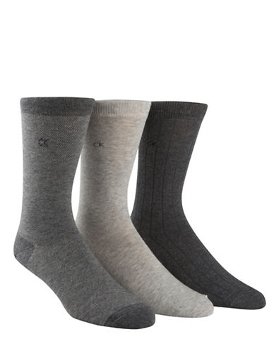 Calvin Klein Mens Three Pack Birdseye Crew Socks-GREY-7-12