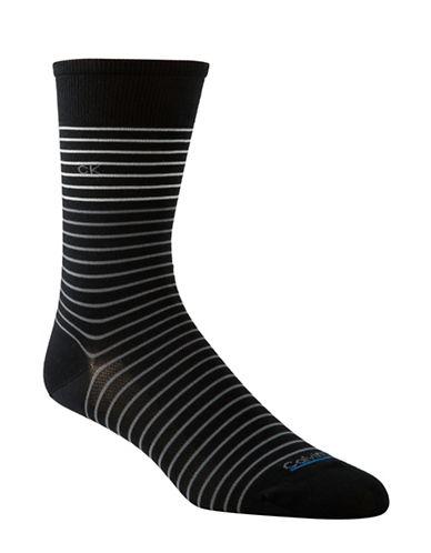 Calvin Klein Tech Cool Striped Socks-BLACK-7-12