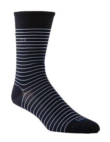 Calvin Klein Tech Cool Striped Socks-NAVY-7-12