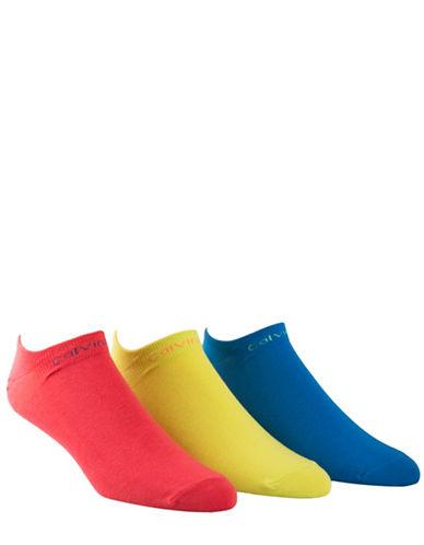 Calvin Klein Three-Pack Coolmax Liner Socks-YELLOW ASSORTED-7-12
