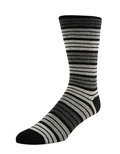 Mcgregor Mens Striped Non-Elastic Crew Socks-BLACK-7-12