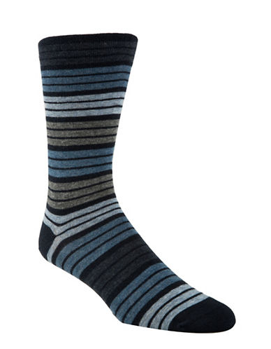 Mcgregor Mens Striped Non-Elastic Crew Socks-NAVY-7-12