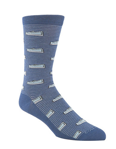 Cole Haan Pinch Loafer Crew Socks-BLUE-7-12