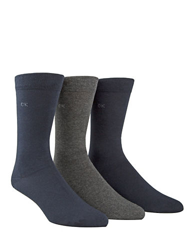 Calvin Klein Mens Three-Pack Flat Knit Socks-NAVY-7-12