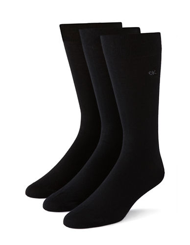 Calvin Klein Mens Three-Pack Flat Knit Socks-BLACK-7-12