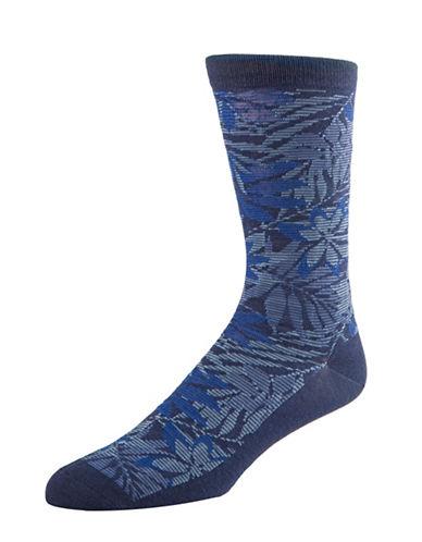 Cole Haan Tonal Floral Crew Socks-BLUE-7-12