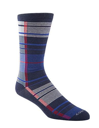 Cole Haan Plaid Crew Socks-BLUE-7-12