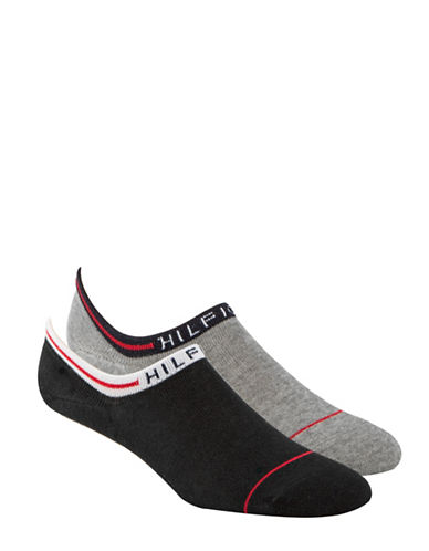 Tommy Hilfiger Two Pack Logo Cuff No Show Ankle Socks-BLACK-7-12