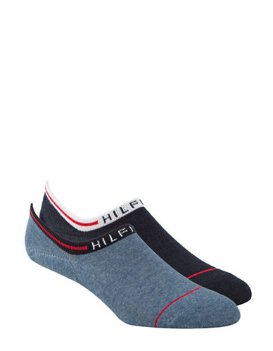 Tommy Hilfiger Two Pack Logo Cuff No Show Ankle Socks-DENIM-7-12