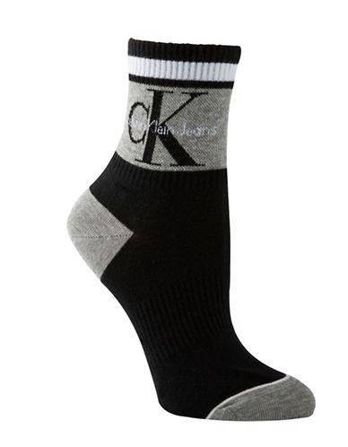 Calvin Klein Jeans Logo Anklet Socks-BLACK-One Size