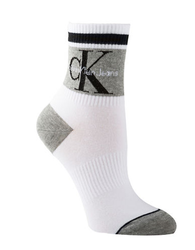 Calvin Klein Jeans Logo Anklet Socks-WHITE-One Size