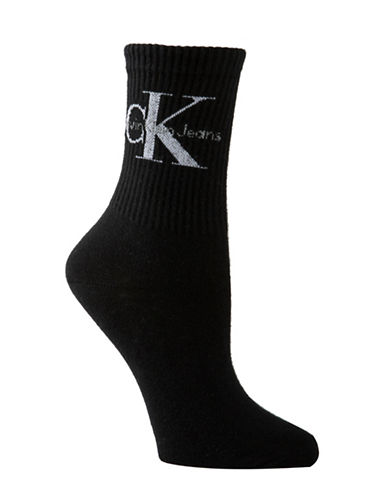 Calvin Klein Jeans Logo Short Crew Socks-BLACK-One Size