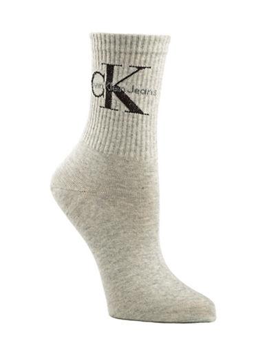 Calvin Klein Jeans Logo Short Crew Socks-GREY-One Size
