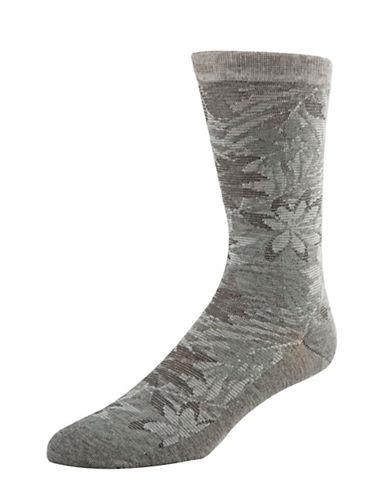 Cole Haan Tonal Floral Crew Socks-GREY-7-12