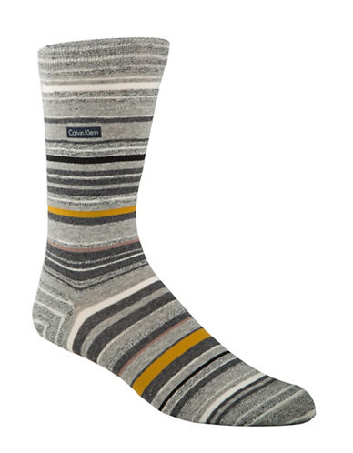 Calvin Klein Mens Barcode Multi Stripe Crew Socks-GREY-7-12