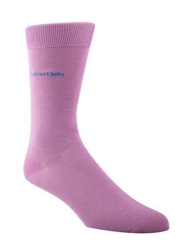 Calvin Klein Mens Egyptian-Cotton Blend Socks-LIGHT BROWN-7-12