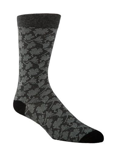 Calvin Klein Mens Floral Crew Socks-GREY-7-12