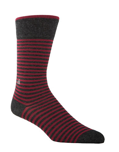Calvin Klein Mens Striped Crew Socks-RED-7-12