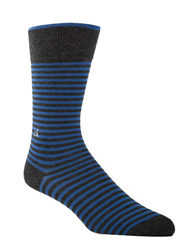 Calvin Klein Mens Striped Crew Socks-BLUE-7-12