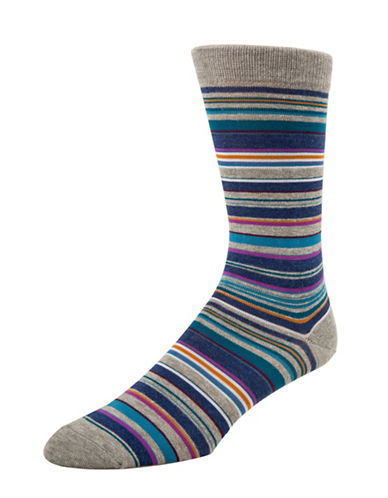 Mcgregor Mens Striped Crew Socks-GREY-7-12