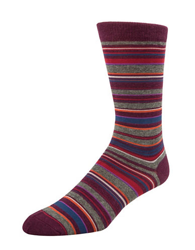 Mcgregor Mens Striped Crew Socks-PURPLE-7-12