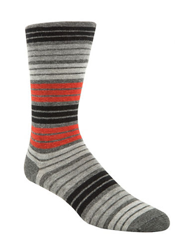 Mcgregor Mens Striped Non-Elastic Crew Socks-GREY-7-12